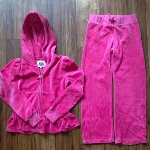 Juicy Couture Girls Velour Tracksuit Pink Size Med